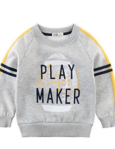 Baby Gutt Grunnleggende Trykt mønster Langermet Polyester Hettegenser og sweatshirt Mørkegrå