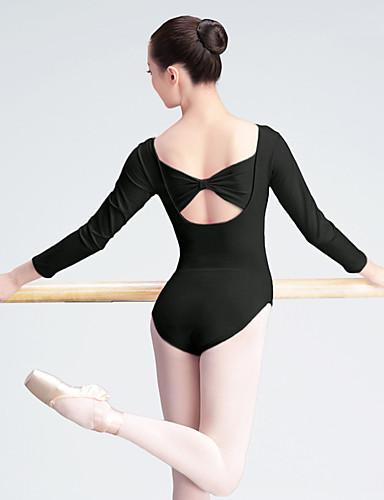 preiswerte Ballettbekleidung-Ballett Turnanzug Damen Training / Leistung Elastan / Lycra Schleife(n) / Horizontal gerüscht Langarm Gymnastikanzug / Einteiler