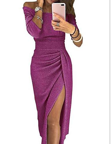 abordables Robes Femme-Femme Elégant Midi Gaine Robe Couleur Pleine Epaules Dénudées Beige Gris Violet XL XXL XXXL Manches Longues / Sexy