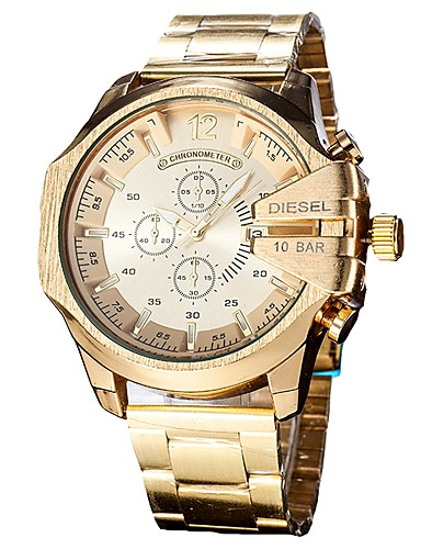 Men's Wrist Watch Japanese Quartz Stainless Steel Black / Silver / Gold Calendar / date / day Chronograph Casual Watch Analog Bangle Fashion - Silver / Black Gold / Black Black / White Two Years