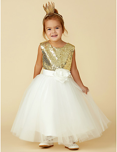 7e2f376d664 Princess Knee Length Flower Girl Dress - Tulle   Sequined Sleeveless Jewel  Neck with Bow(s)   Sash   Ribbon   Flower by LAN TING BRIDE® 4163797 2019 –  ...