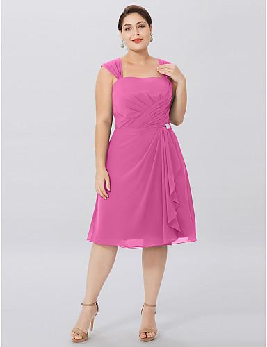 voordelige Wrap Dresses-A-lijn hihnat Tot de knie Chiffon Bruidsmoederjurken met Kruiselings / Plooien door LAN TING BRIDE® / Wrap inbegrepen