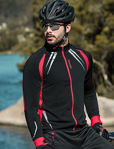 abordables Chaquetas de Ciclismo-SANTIC Hombre Chaqueta de Ciclismo Bicicleta Chaqueta / Top Resistente al Viento, Forro Polar, Mantiene abrigado Un Color Licra, Vellón Invierno Negro Avanzado Ciclismo de Montaña Diseño Semi-Form Fit