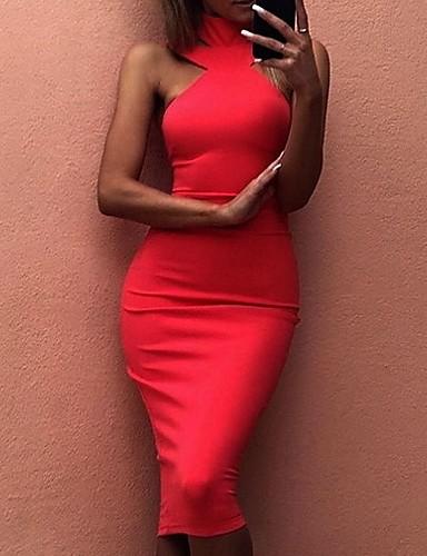 abordables Robes Femme-Femme Basique Au dessus du genou Mince Moulante Robe Taille haute Col Ras du Cou Blanc Noir Rouge M L XL Sans Manches