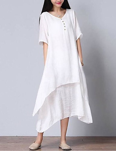53c1f4fa027 Women s Asymmetrical Plus Size Daily Weekend Loose Dress - Solid Colored  White