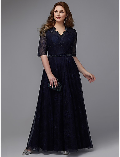 078586899b6d Plus Size A-Line V Neck Floor Length Lace Sparkle & Shine Formal Evening  Dress with Beading / Sash / Ribbon by TS Couture®