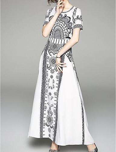 15348f05da1 Women s Daily Vintage Puff Sleeve Maxi A Line Dress Tassel White L XL XXL