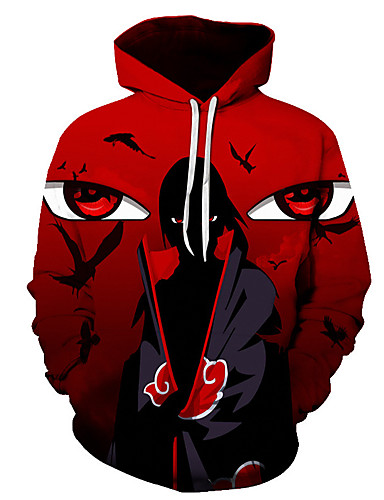 Men's Plus Size Sports Punk & Gothic / Exaggerated Long Sleeve Hoodie - Color Block Hooded Red 4XL / Spring / Fall