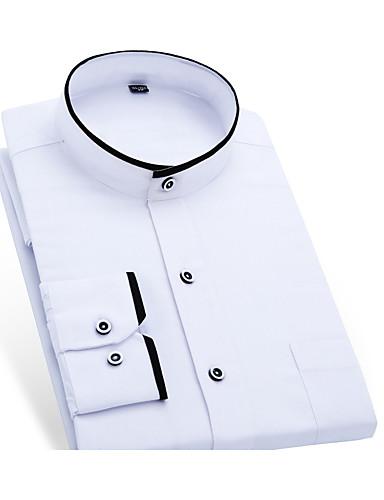 お買い得  ショート-男性用 ワーク シャツ ビジネス / ベーシック ソリッド コットン / スタンド / 半袖 / 長袖