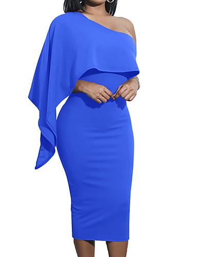 abordables Robes Femme-Femme Soirée Elégant Midi Mince Moulante Robe Couleur Pleine Taille haute Sans Bretelles Vin Vert Véronèse Bleu royal M L XL Manches Courtes / Sexy
