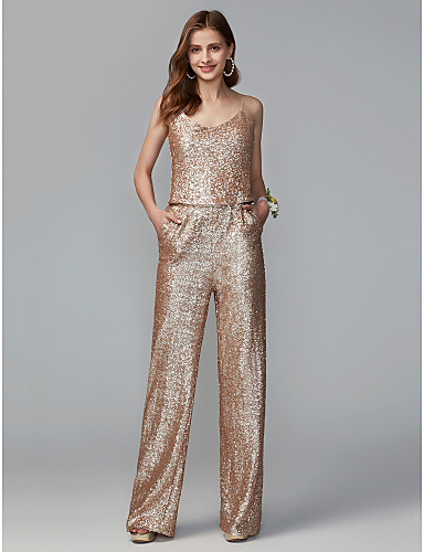 e652e000f69 Jumpsuits Spaghetti Strap Floor Length Sequined Bridesmaid Dress with Sequin  by LAN TING BRIDE®   Two Piece
