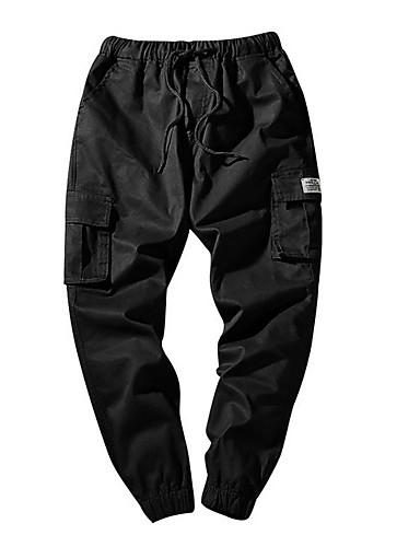 お買い得  カーゴパンツ-男性用 ストリートファッション プラスサイズ チノパン / カーゴパンツ パンツ - ソリッド ブルー