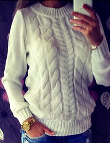 billige damesweaters-Dame Daglig Gade Vredet Ensfarvet Langærmet Normal Pullover, Rund hals Hvid / Mørkegrå / Grå M / L / XL