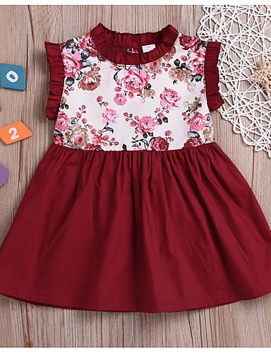 07e5b5e8b44 Νήπιο Κοριτσίστικα Ενεργό Καθημερινά Μονόχρωμο / Γεωμετρικό Στάμπα Αμάνικο  Ως το Γόνατο Φόρεμα Ρουμπίνι