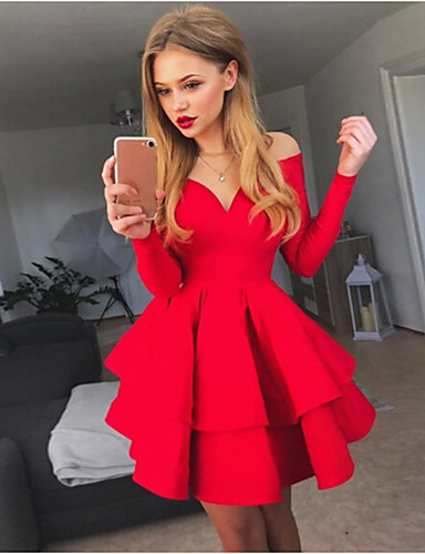 071ba8b9cd3b Women's Party Daily Basic A Line Swing Dress High Waist Off Shoulder Cotton  White Black Red M L XL