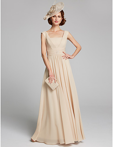 e7ad545224 A-Line Square Neck Floor Length Chiffon Mother of the Bride Dress with  Crystal Brooch   Pleats by LAN TING BRIDE®