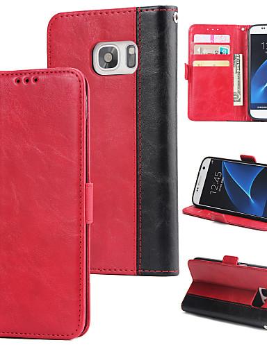 Θήκη Za Samsung Galaxy S7 Novčanik / Utor za kartice / Zaokret Stražnja maska Jednobojni Tvrdo PU koža