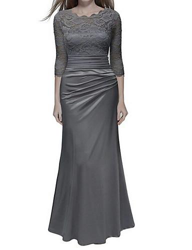 49803d708 فستان نسائي ثوب ضيق أنيق دانتيل طويل للأرض لون سادة خصر عالي / مثير