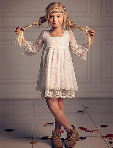 A-kroj Iznad koljena Haljina za djevojčicu s cvijećem - Poliester 3/4 rukava Četvrtasti izrez s Čipka po LAN TING Express