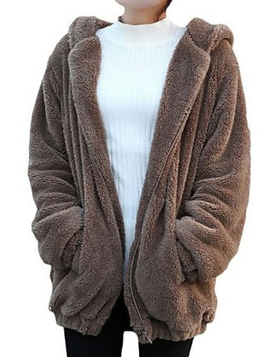 abordables Manteaux & Vestes Femme-Femme Quotidien Basique Normal Veste, Couleur Pleine Capuche Manches Longues Polyester Marron / Blanc / Noir Taille unique