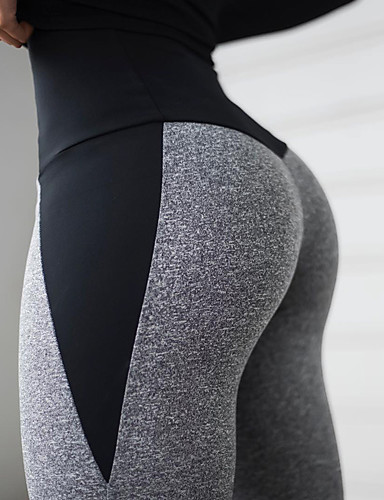 cheap Activewear-Women's Patchwork Yoga Pants Gray Sports Solid Color High Rise Tights Zumba Fitness Gym Workout Activewear Butt Lift Tummy Control Power Flex High Elasticity Slim / Winter / Ruched Butt Lifting
