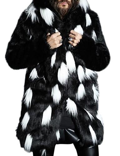 voordelige Herenjacks & jassen-Heren Dagelijks Grote maten Normaal Bontjas, Kleurenblok Capuchon Lange mouw Imitatiebont Wit / Zwart