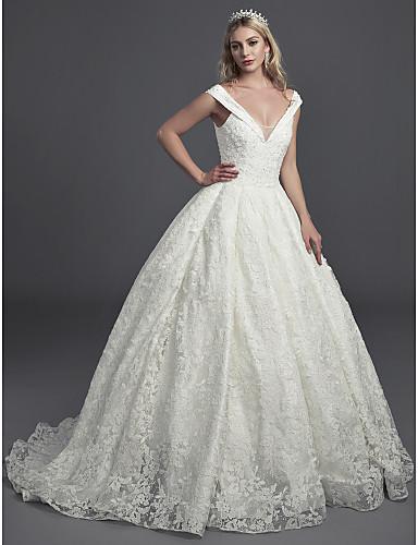 db4e30bfa De Baile Decote V Cauda Corte Renda Vestidos de casamento feitos à medida  com Renda de LAN TING BRIDE®