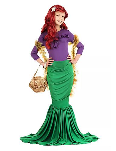 halpa Cosplay ja rooliasut-The Little Mermaid Ariel Aqua Queen Uima-asut Lasten Tyttöjen Merenneito alushame Halloween Karnevaali Masquerade Festivaali / loma Lycra Vihreä Karnevaalipuvut Merenneito