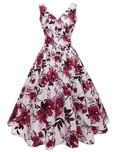 זול ביגוד נשים-צווארון V מותניים גבוהים עד הברך דפוס, גיאומטרי - שמלה נדן מידות גדולות בסיסי בגדי ריקוד נשים / סקסית