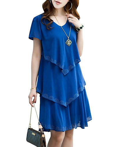 cheap Women's Dresses-Women's Ruffle Plus Size Daily Weekend Street chic Chiffon Dress - Solid Colored Blue, Layered Summer Black Orange Royal Blue XXXL XXXXL XXXXXL