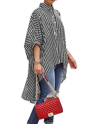 billige Topper til damer-Løstsittende Skjortekrage Bluse Dame - Stripet Svart