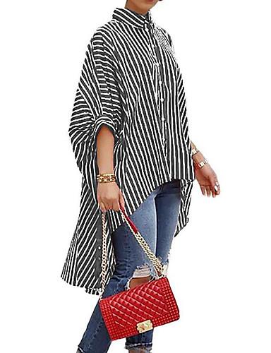 povoljno Ženske majice-Bluza Žene Dnevno Prugasti uzorak Kragna košulje Širok kroj Crn