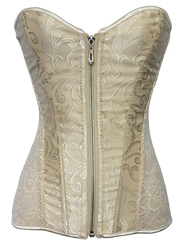 7a91a6f27 Cosplay Steampunk Costume Women s Overbust Corset White   Black   Beige  Vintage Cosplay Sleeveless Short Length
