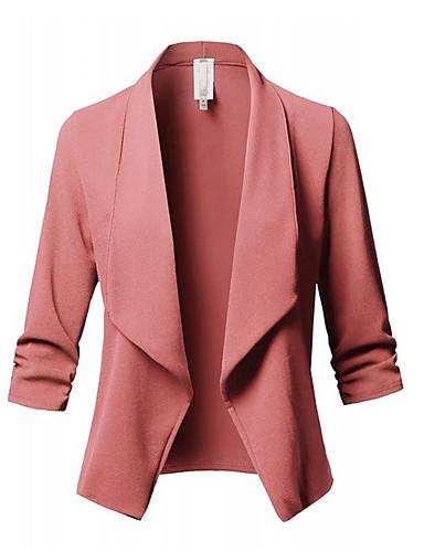 Žene Dnevno Posao Jesen Veći konfekcijski brojevi Normalne dužine Sako, Jednobojni Kragna košulje Dugih rukava Poliester Blushing Pink / Slim