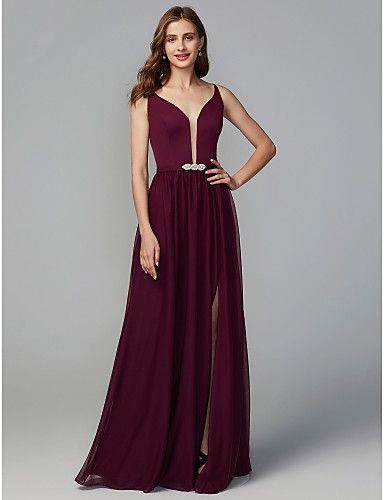 A-Line Y Neck Floor Length Chiffon Bridesmaid Dress with Split Front    Crystal Brooch by LAN TING BRIDE® 863e81c0ffc7