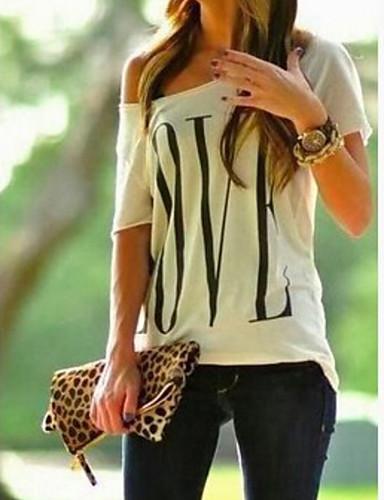 abordables Hauts pour Femmes-Tee-shirt Femme, Géométrique Une Epaule Basique Une Epaule Blanche / Printemps / Eté / Automne