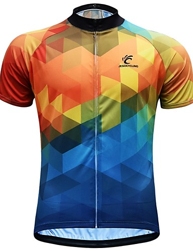 cheap Cycling Clothing-JESOCYCLING Men's Short Sleeve Cycling Jersey - Blue+Yellow Bike Jersey Top Breathable Moisture Wicking Quick Dry Sports 100% Polyester Mountain Bike MTB Road Bike Cycling Clothing Apparel / Stretchy