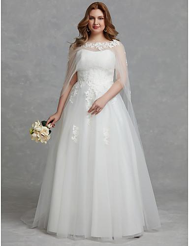 levne Svatební šaty-A-Linie Bez ramínek Na zem Tyl Svatební šaty vyrobené na míru s Aplikace / Krajka podle LAN TING BRIDE® / Krásná záda