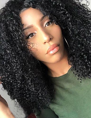 billige Blondeparykker med menneskehår-Ubehandlet hår U-del Parykk Midtdel stil Brasiliansk hår Kinky Curly Naturlig Parykk 250% Hair Tetthet med baby hår Beste kvalitet Tykk Afroamerikansk parykk med klipp Dame Medium Lengde