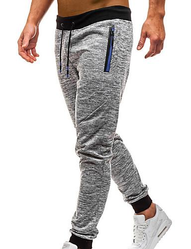 男性用 ストリートファッション スウェットパンツ パンツ - ソリッド / ストライプ ダックグレー