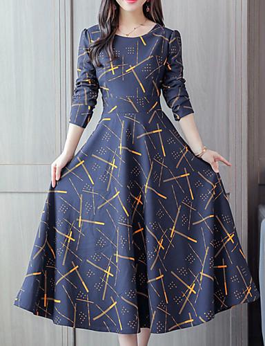 Mujer Noche Chic de Calle Sofisticado Vaina Vestido - Estampado, Geométrico Midi
