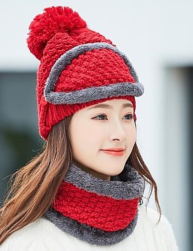 24ee0f08022a2 Women s Basic Knitwear Beanie   Slouchy Beret Hat Floppy Hat-Color Block  Fall Winter Beige