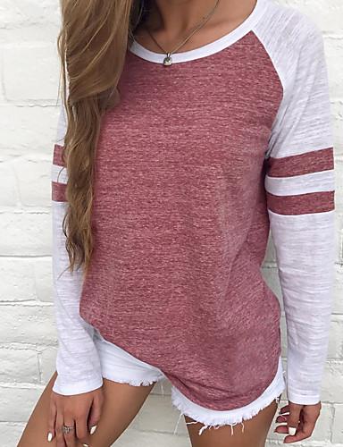 povoljno Ženske majice-Veći konfekcijski brojevi Majica s rukavima Žene - Osnovni Dnevno Color block Dungi / Osnovni Red / Proljeće / Ljeto / Jesen / Zima