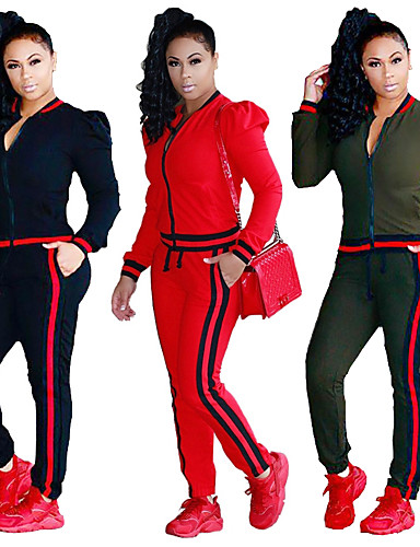 0796a498b6fc7a Women's Pocket Tracksuit Sports Solid Color Cotton Pants / Trousers  Sweatshirt Clothing Suit Gym Workout Workout Long Sleeve Plus Size  Activewear Breathable ...