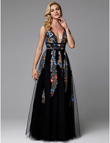 b4d2a18a492 Γραμμή Α Βυθίζοντας το λαιμό Μακρύ Δαντέλα / Τούλι Ανοικτή Πλάτη  Χοροεσπερίδα / Επίσημο Βραδινό Φόρεμα με Διακοσμητικά Επιράμματα με TS  Couture®