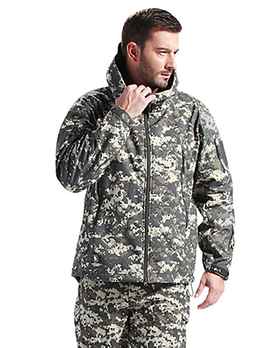 cheap Outdoor Clothing-Men's Hoodie Jacket Hiking Softshell Jacket Military Tactical Jacket Camo Outdoor Winter Thermal Waterproof Windproof Fleece Lining Winter Fleece Jacket Top Fleece Softshell Skiing Camping / Hiking