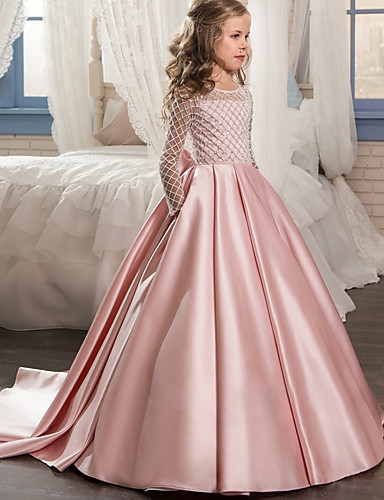 1cbfb09253 Ball Gown   Princess Sweep   Brush Train Flower Girl Dress - Polyester Long  Sleeve Jewel Neck with Lace by LAN TING Express