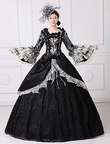 540250bc692 Queen Princess Rococo Baroque Victorian 18th Century Ball Gown Costume  Women s Masquerade Costume Black Vintage Cosplay Party Prom Sleeveless  Flare Sleeve ...