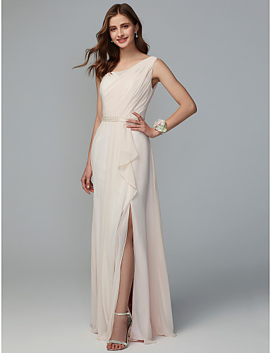 5f7c8054d2b A-Line One Shoulder Floor Length Chiffon Bridesmaid Dress with Split Front    Pleats by LAN TING BRIDE®