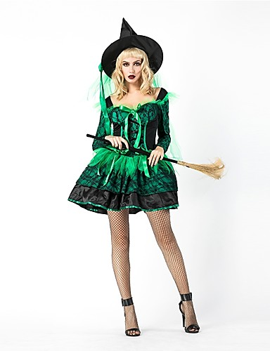 billige Voksenkostymer-Trollmann / heks Dame Voksen Voksne Halloween Jul Jul Halloween Karneval Festival / høytid Polyester Drakter Grønn Ensfarget Jul